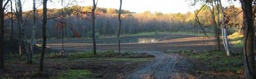 Hidden field. Pond.